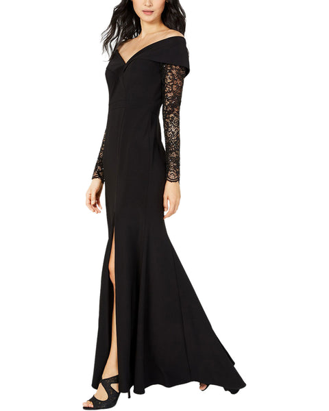 XSCAPE Petite Off The Shoulder Lace Sleeve Gown