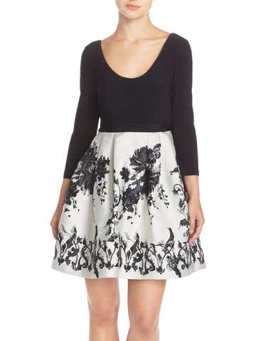 Adrianna Papell Jersey & Jacquard Fit & Flare Dress