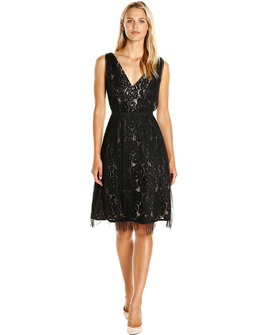 Adrianna Papell Women's Netting Overlay Juliet Lace Fit and Flare