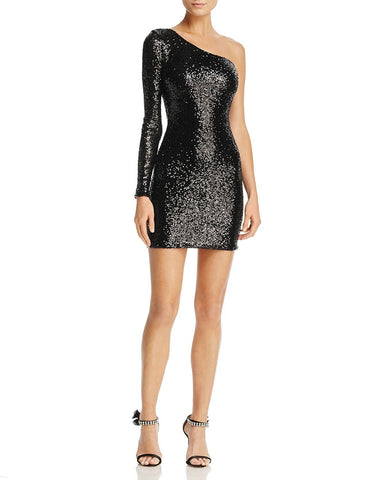 Nookie Women's Sequined One Shoulder Mini Cocktail Dress