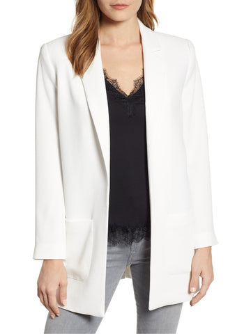 1.STATE Textured Crepe Patch Pocket Long Blazer