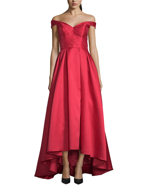 XSCAPE Petite Off The Shoulder High Low Gown