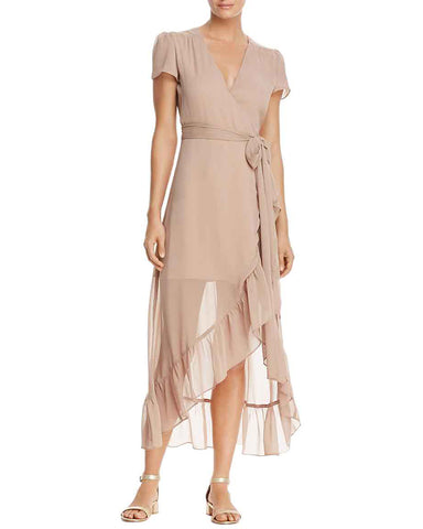 Wayf Womens Meryl Chiffon Short Sleeves Wrap Dress