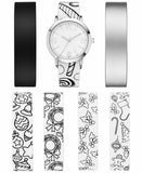 Doodlz Womens Pvc Bracelet Watch Set 36mm White