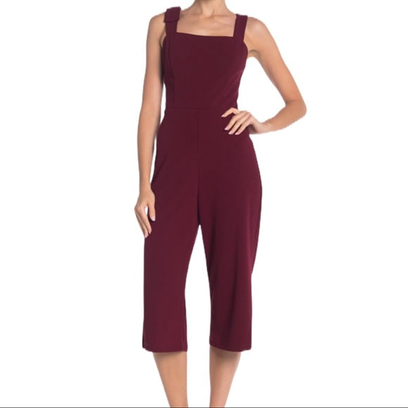 Women MARINA Sleeveless Crepe Jumpsuit, Size 14, Wine Red