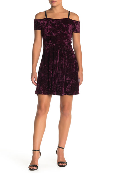 Angie Crushed Velvet Cold Shoulder Dress, Size Small, Wine