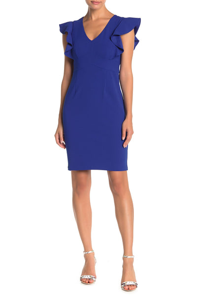 Eliza J V-Neck Flutter Sleeve Sheath Dress, 12 Petite, ROYAL