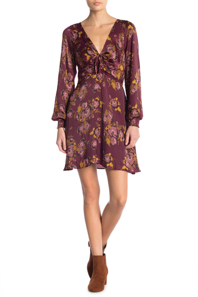 Free People Women Morning Light Mini Dress, Size 2, Purple Comb