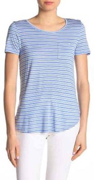 Joe Fresh Women Scoop-Neck Front Chest Pocket T-Shirt - Size Large - Blue Stripe