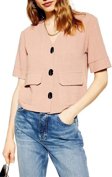 Topshop Women's Charlie Button Down Top - Size 10 | Pink