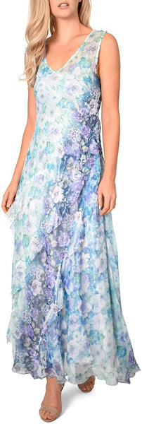 Komarov Floral Side Ruffle Maxi Dress with Matching Shawl - Size Large Petite, Cerulean Rose