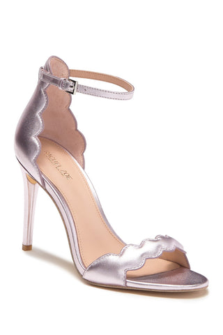 RACHEL ZOE Ava Scalloped Metallic Stiletto Sandal, Powder, 9.5
