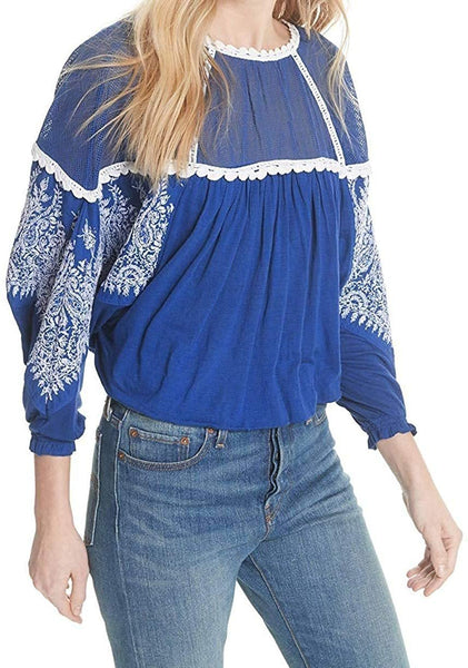 Free People Womens Embroidered Mesh Inset Blouse