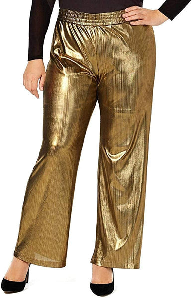 NY Collection Womens Plus Metallic Striped Straight Leg Pants
