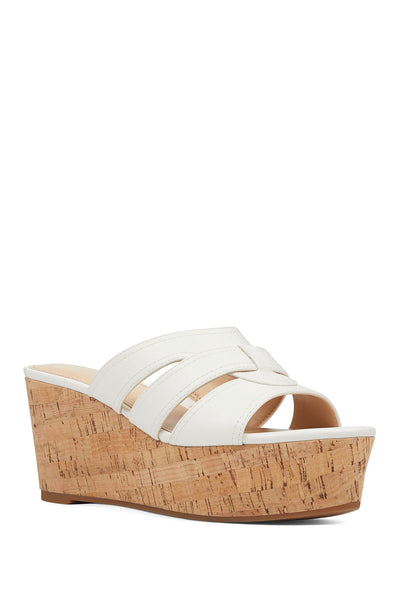 NINE WEST Womens Vivica3 Platform Wedge Sandals 8.5 M, White