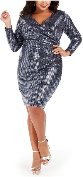 Betsy & Adam Womens Navy Sequined Long Sleeve V Neck Above The Knee Sheath Cocktail Dress Size 14W