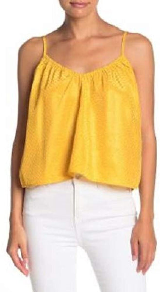 NSR Women's Lisa Dotted Crop Tank Top - Size X-Large - Marigold