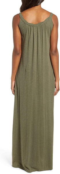 Caslon Women's Twist Neck Maxi Dress - Size Small, Olive