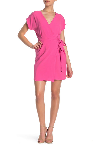 Bobeau Women Cap Sleeve Crepe Wrap Dress | Size - Large | Color - Pink Butterfly