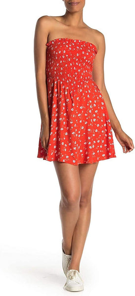 love, FiRE Women Strapless Smocked Dress | Size - Small/Petite | Orange Floral