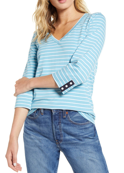 1901 Women's V-Neck Striped Top - Size X-Small - Blue