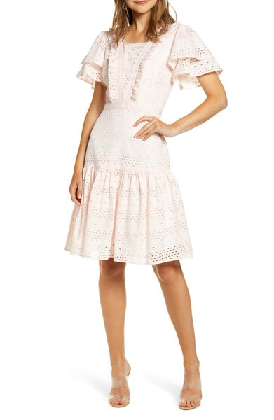 Women's Rachel Parcell Lace Fit & Flare Dress, Size Large - Pink (Nordstrom Excl