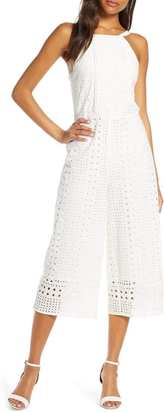 Adelyn Rae Women Ivonne Eyelet Crop Jumpsuit, Medium, White