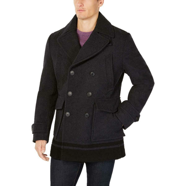 Calvin Klein Men's Wool Peacoat with Colorblocked Hem Black