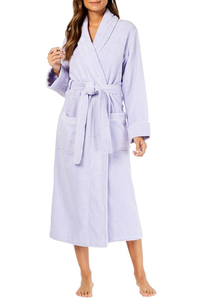 Charter Club Women Turkish Cotton Luxe Terrycloth Robe - Medium - Light Amythest