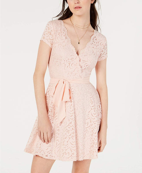 B Darlin Juniors' Lace Wrap Dress Pink Size ( 0 )