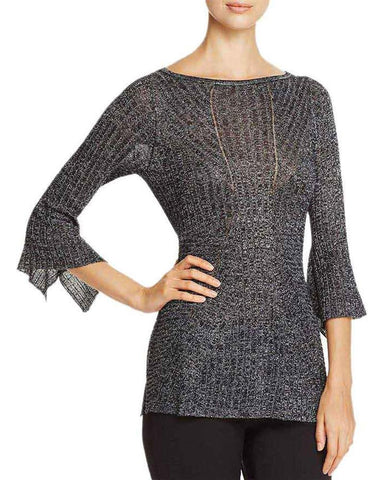 Heather B Womens Bell Sleeves Ribbed Pullover Sweater