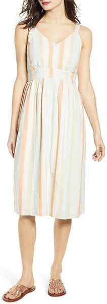 Plus Size Women's Bp. Button Front Stripe Dress, Size 1 X - Coral