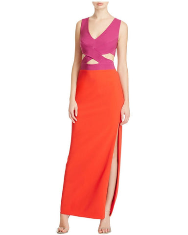 Maria Bianca Nero Women's Pink Cutout Colour Block Gown