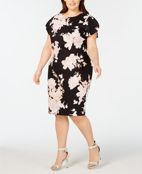 Calvin Klein Women's Plus Size Floral-Print Sheath Dress - Size 18W, Black