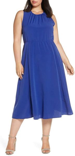 Bobeau Women's Plus Size Francis Tie Back Dress, Size 1X - Blue