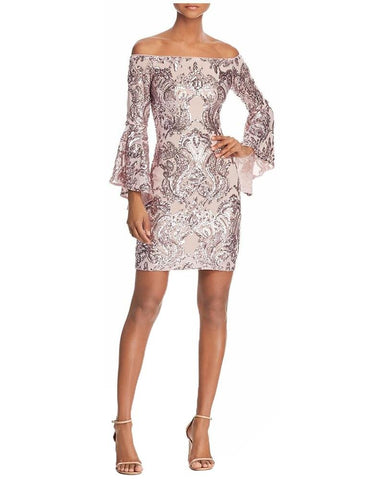 Aqua Women's Sequined Off Shoulder Sheath Dress
