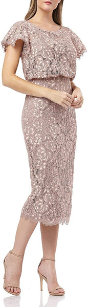 JS Collections Women's Embroidered Lace Blouson Cocktail Dress, Size 10 - Pink
