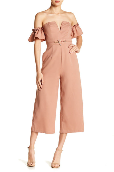 TOV Los Angeles Women's Off Shoulder V-Wire Jumpsuit Size - 38/Medium, Taupe