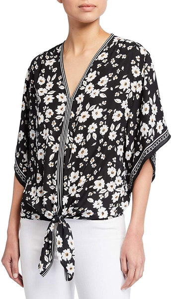 Max Studio Women Floral-Print Self-Tie Top | Size - Large | BlackGold Peony