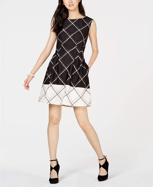 Vince Camuto Women's Printed Fit & Flare Dress, Size 10 - Black/White