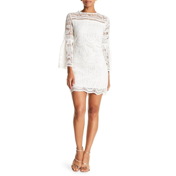 Meghan LA Women's Madison Lace Overlay Bell Sleeve Cocktail Dress - Medium, White