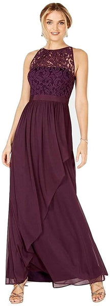 Adrianna Papell Lace Illusion Halter Gown Currant Size 8