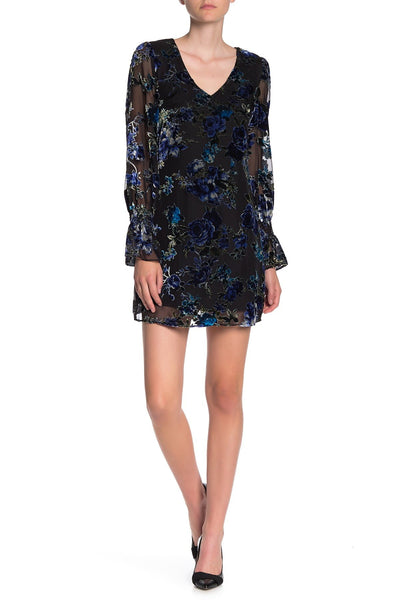 Laundry By Shelli Segal Women Long Sleeve Burnout Velvet Dress | 6 | MULTI