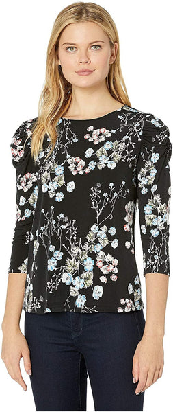 CeCe Women's 3/4 Ruffled Sleeve Floral Divine Knit Top