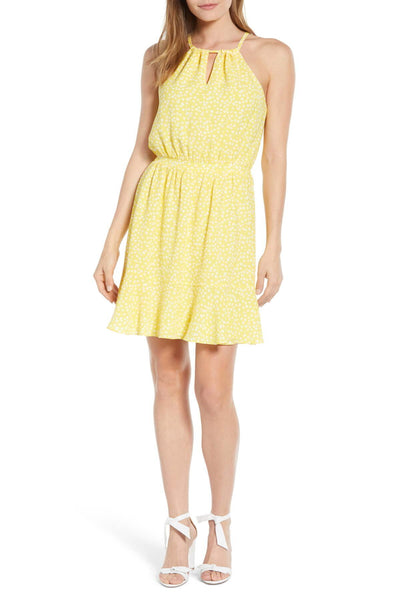 x Living in Yellow Calla Keyhole Halter Neck Dress GIBSON - Size XS