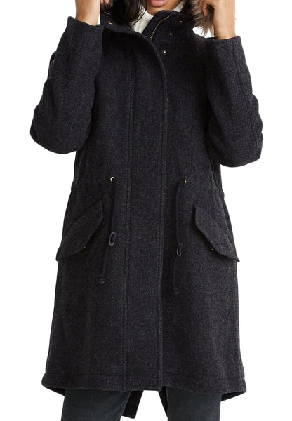 Women's Madewell Vancouver Wool Blend Parka Faux Fur Trim | Size Large | Black