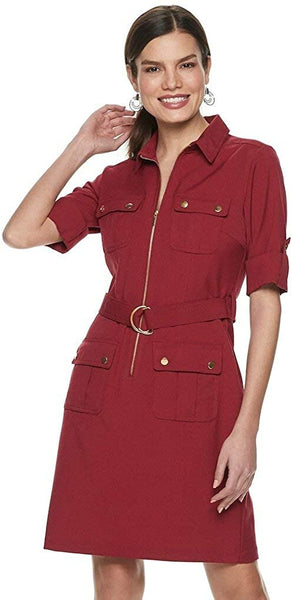 Sharagano Women's Cargo-Pocket Belted Shirt Dress - Size 12, Burgunday
