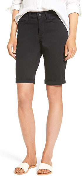 NYDJ Petite Women's Briella Roll Cuff Denim Shorts, Size 00P - Black