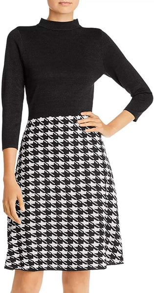 Nanette Nanette Lepore Houndstooth Combo Fit and Flare Dress, Black - Large