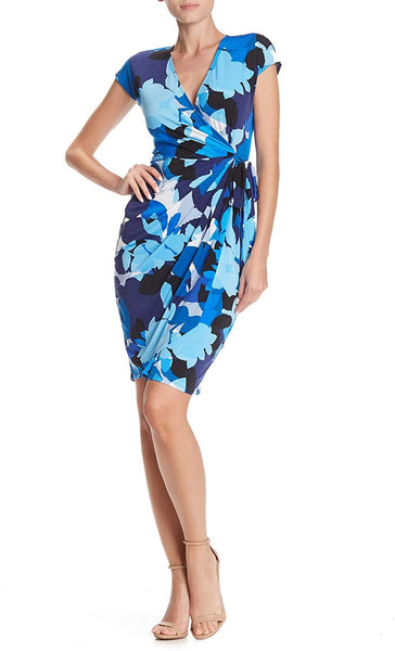 Maggy London Patterned Wrap Sheath Dress - Size 4, Blue
